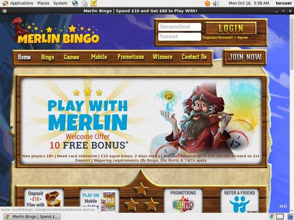 Merlin Bingo Casino Bonus