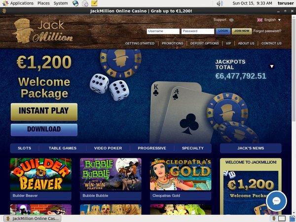 Jack Million No Deposit Code