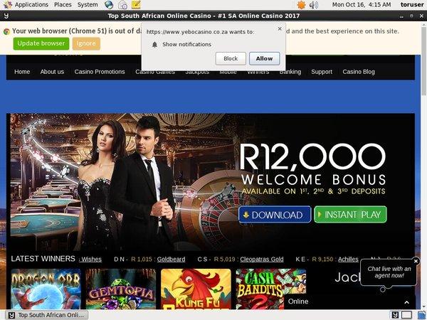 Yebo Casino Bonus Code 2017