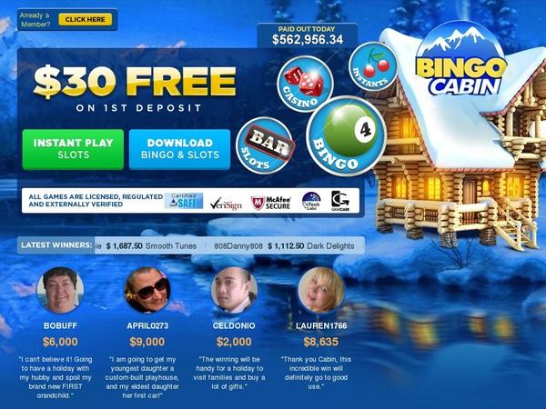 Bingo Cabin 300 Euro Bonus